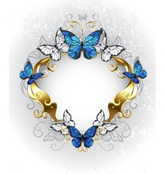 Jewelry banner with blue butterflies morpho vector