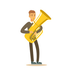 musician man wearing a classic suit playing french vector image vector image