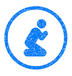 Pray person rounded grainy icon vector