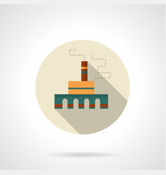 Processing plant flat round icon vector
