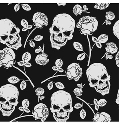 Roses and Skulls Seamless Pattern vector image