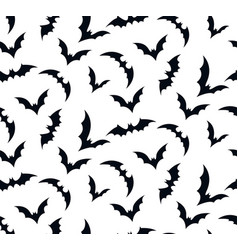 seamless pattern swarm of bats on white vector image