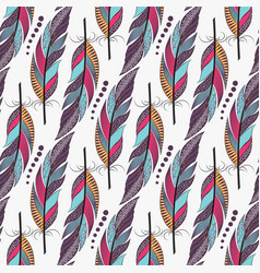 seamless pattern with large colored feathers vector image vector image