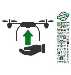 Send Drone Hand Icon With Bonus vector image vector image