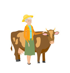 Senior farmer standing with crossed arms near cow vector