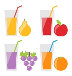 Set of Fresh Fruit Juices vector image vector image