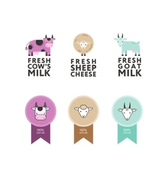 Set of modern flat logos for dairy products vector image