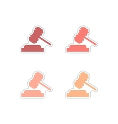 Set of paper stickers on white background gavel vector