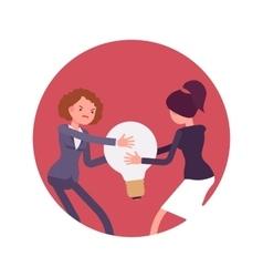 Struggle between women for a lamp bulb or idea vector