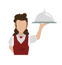 Waiter catering food dish faceless vector
