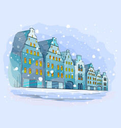 Winter city background with houses vector