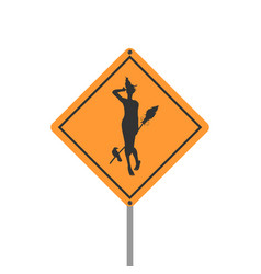 yellow road sign halloween vector image