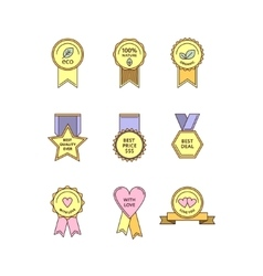 Set of flat medals and tags vector