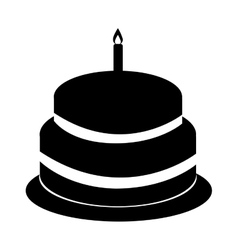 Delicious sweet cake birthday vector