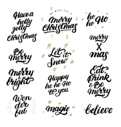Big set of hand drawn christmas lettering and vector