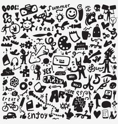 Art tools doodles set vector