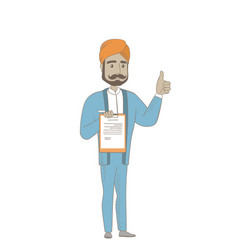 Hindu businessman with clipboard giving thumb up vector