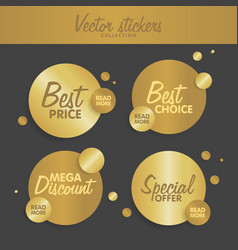 Gold stickers set concept for web sites banners vector