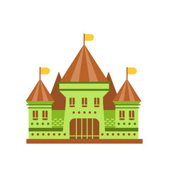 Green fairy tale castle with brown roof vector