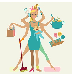 Super mother with newborn baby - cleaning shopping vector