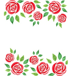 Watercolor floral background with red roses vector