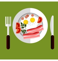 Tasty breakfast of eggs and bacon vector