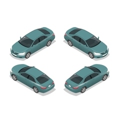 Blue sedan car flat isometric high quality city vector