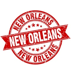 New orleans red round grunge vintage ribbon stamp vector