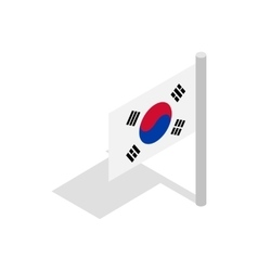 Flag of south korea icon isometric 3d style vector