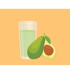 Avocado smoothie with fruit and a glass of the vector