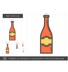 Beer bottle line icon vector