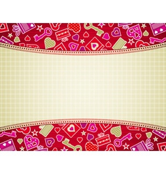 beige valentine background with hearts and gifts vector image vector image