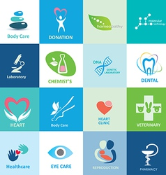 big set of medical icons collection of emblems vector image