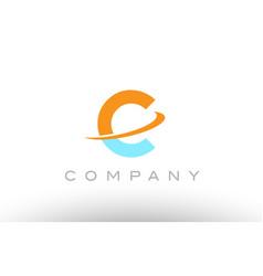 C orange blue logo icon alphabet design vector
