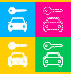 Car key simplistic sign four styles of icon on vector