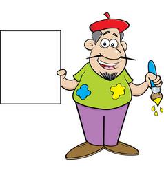 Cartoon artist holding a sign vector