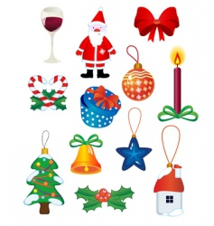 Christmas icons and symbols vector image vector image
