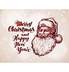 Christmas vintage greeting card santa claus vector