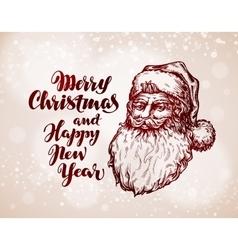 Christmas vintage greeting card Santa Claus vector image