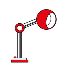 color silhouette cartoon side view red desk lamp vector image