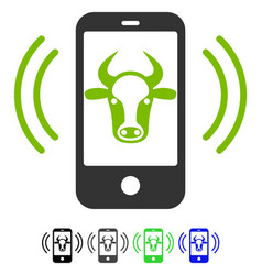 Cow mobile control flat icon vector
