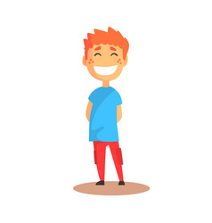 cute happy laughing boy standing colorful cartoon vector image vector image