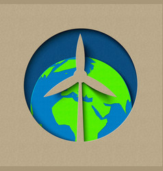 earth day wind mill green energy paper cut design vector image