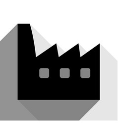factory sign black icon with vector image
