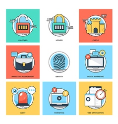 Flat color line design concepts icons 34 vector