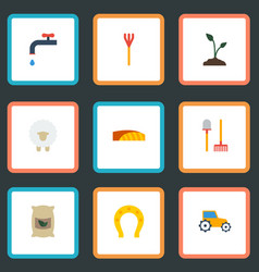 flat icons faucet field rake and other vector image