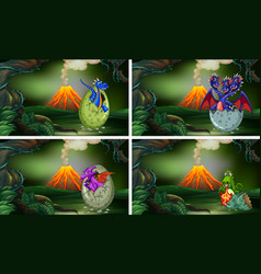 four scenes with dinosaurs hatching eggs vector image vector image