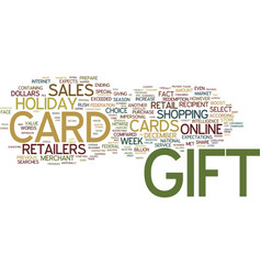 Gift card text background word cloud concept vector