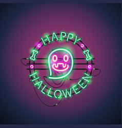 Happy halloween neon ghost vector