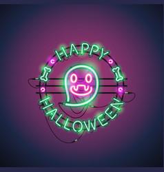 happy halloween neon ghost vector image vector image